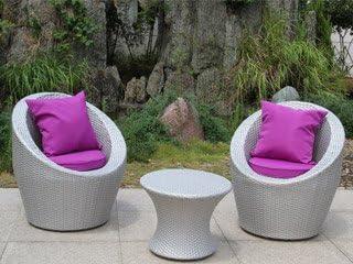 Salon de jardin TOTEM 3 pièces gris sidéral et fuschia DCB ...