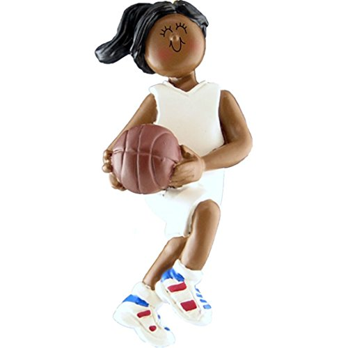 - Personalized Basketball Team Girl Christmas Tree Ornament 2019 - African-American Woman Athlete with B-Ball Hobby School NBA Ethnic Grand-Daughter - Free Customization (AA Female)