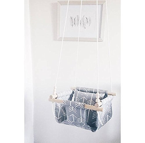 Indoor/Outdoor Gray Arrow Fabric Swing, Nursery Baby Swing by Sweet Swinging