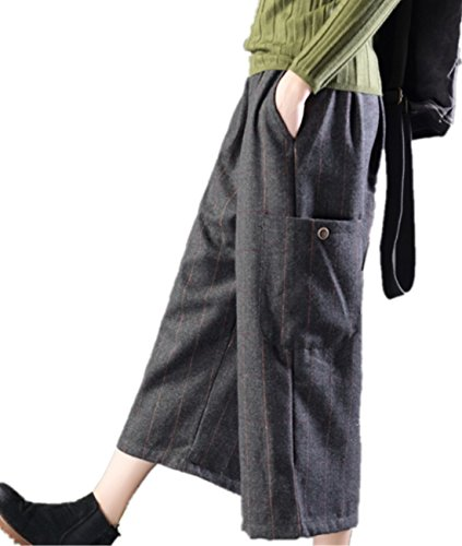 YESNO PK1 Women Casual Cropped Pants Striped Wool Blend Wide Leg Elastic Waist Big Pockets (Striped Cropped Pants)