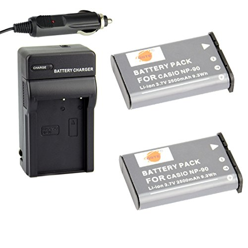 DSTE 2x NP-90 Battery + DC94 Travel and Car Charger Adapter for Casio Exilim EX-H10 EX-H15 EX-H20 EX-FH100 Camera