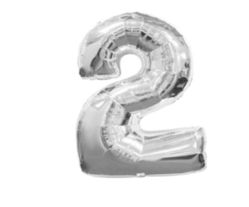 Gold and silver, 40 Numbers 0-9 foil balloons. Birthday/Party balloons. Q1501silver40(2)