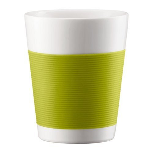 Bodum Canteen Porcelain Double Wall Medium Tumbler with Silicone Grip, Green, Set of 2 (Bodum Glass Coasters)
