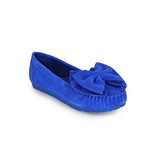 Frosted Toe Flats WeenFashion Blue Heel on No Round Closed Women's Shoes Solid Pull EqwzFa