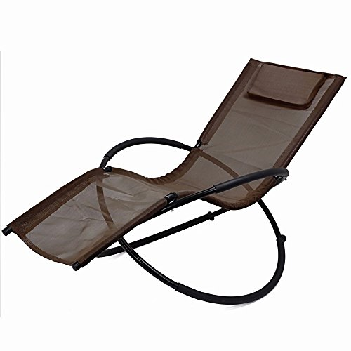 Zero Gravity Folding Orbit Chair Patio Lounger Reclining Rocking Relax Outdoor Brown - Orlando Best Outlets