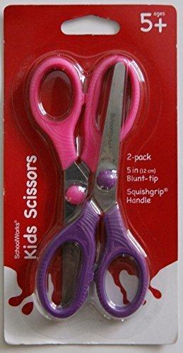 Schoolworks 2 Pack Kids Scissors - Pink and Purple (Safety Works Scissors School)