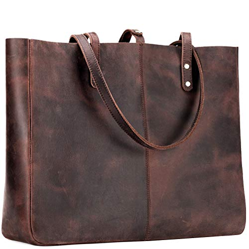 Jack&Chris Vintage Natural Cowhide Leather Bag Handbag Large Tote Bag for Women, MC509-5(Dark - Leather Tote Cowhide