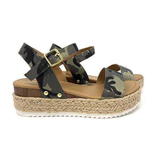 (SODA Clip Women's Open Toe Ankle Strap Espadrille Sandal (6 M US, Camo) )