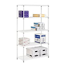 Honey-can-do SHF-01574 5-Tier Adjustable Shelving System Shelf, 18-Inch by 42-Inch by 72-Inch, White