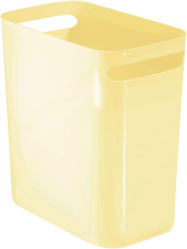 mDesign Slim Plastic Rectangular Large Trash Can Wastebasket, Garbage Container Bin, Handles for Bathroom, Kitchen, Home Office, Dorm, Kids Room - Shatter-Resistant - Light Yellow