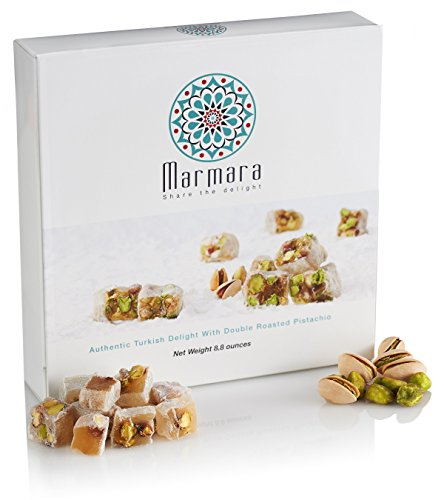 Turkish Delight with Double Roasted Pistachio Marmara authentic Sweet Confectionery Gourmet Box Candy Dessert Large 8.8 ounce