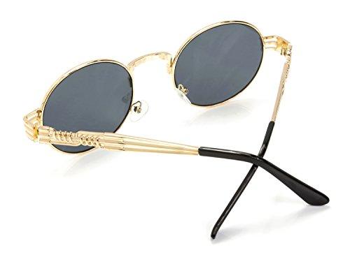 Señoras Negro Oro las Retro Rox de Ro Gafas y Steampunk Hombres Sol de Cq8TnwPx