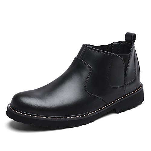 Matari Heren Retro Klassieke Lederen Laarzen Ronde Tenen Slip Op Schoenen Zwart