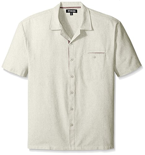 Stacy Adams Men's Big-Tall Melange Linen Blend Short Sleeve Shirt B and T Neutral, Natural, 5X-Large ()
