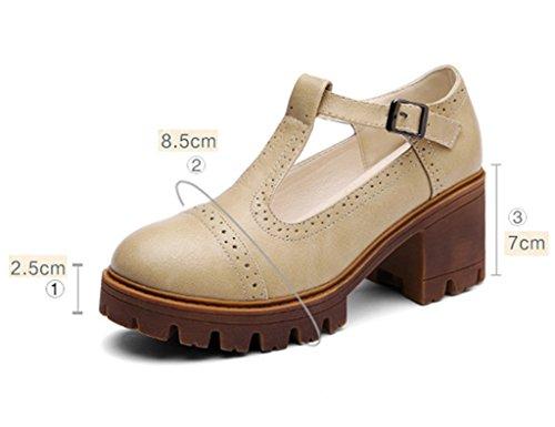 Beige mujer estilo grueso Estudiante sin primavera Zapatos británico Zapatos mujer de fondo femenino Caqui Zapatos de Casual de alto para Tamaño de Color HWF tacón 38 qEBwx0x