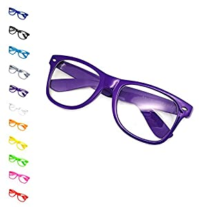 United States of Oh My Gosh Costume Nerd Glasses - 11 Colors Men, Women, Children #1 Glasses US of OMG - Purple