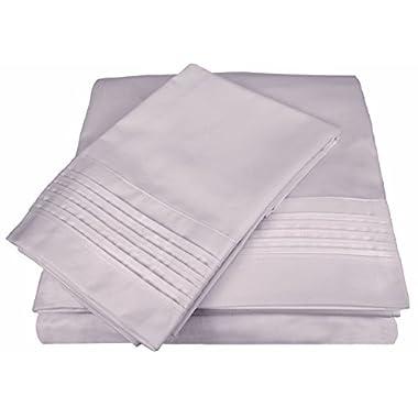D. Charles Luxury 700 Thread Count Pleated Hem Sheet Set with Bonus Pillowcases - Wrinkle Resistant Cotton Blend - King, Purple Mist