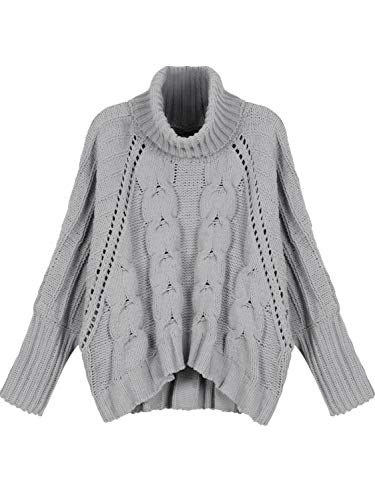 PERSUN Women Gray High Neck Chunky Cable Long Sleeve Sweater (Small, Grey)
