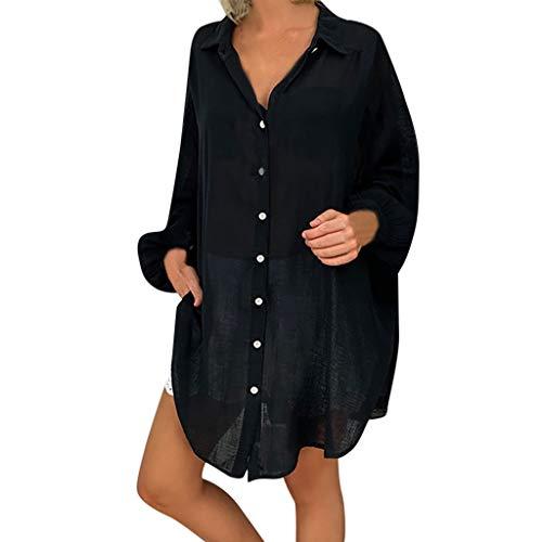 Womens Blouse Loose Women Plus Size Tops Women Casual Lapel Neck T-Shirt Ladies Short Sleeve Buckle Blouse (3XL, Black) ()