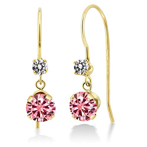 Gem Stone King 14K Yellow Gold Dangle Earrings Round Pink Created Moissanite and Diamond White 1.00ct (DEW) ()
