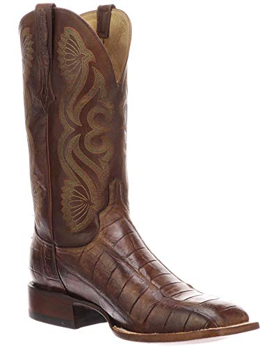 Lucchese CL1073.WF Roy | Mens Giant Gator Horseman Western Boots | Men's Exotic Brown + Tan Square Toe Cowboy Boot | Handmade in Tx, USA | Wild-Caught Authentic Alligator Skin | Double Stitch Welt | (Alligator Boots Lucchese)