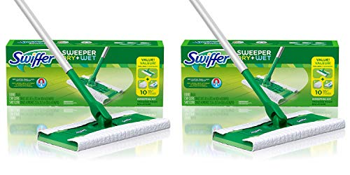 (Swiffer Sweeper Dry and Wet Floor Mopping and Cleaning Starter Kit, All Purpose Floor Cleaning Products, Includes: 1 Mop, 7 Dry Pads, 3 Wet Pads - 2 Pack)