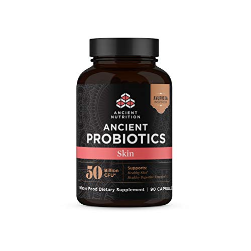 Ancient Nutrition, Ancient Probiotics Skin, 50 Billion CFU, Healthy Skin and Digestive Functions, Shelf Stable, 90 Capsules