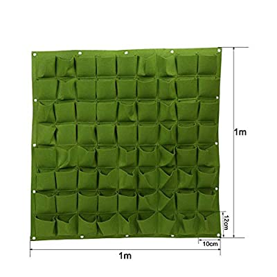 Vertical Hanging Planter with 72 Pockets Wall Garden Mount Planter Pouch for Herbs Flowers Yard Decoration Planting Bag (72 Pocket, Green): Garden & Outdoor