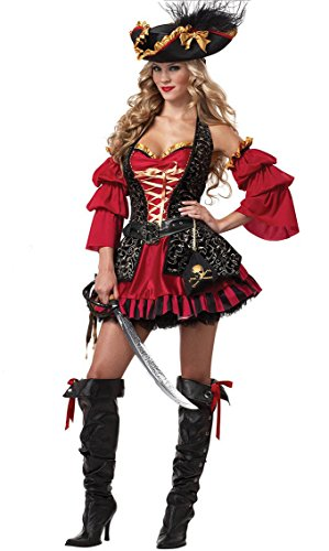 Fashionclub Halloween Women Spanish Pirate Cosplay Costumes Dress (M)