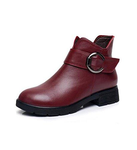 KHSKX-Rot 3 Cm Fallen Mädchen Schuhe Modische Und Winter Vielseitige Schuhe Mit Hohen Absätzen Winterstiefel Mit Dicken Winter Und Stiefel Damen Schuhe 39). 1d3a2f
