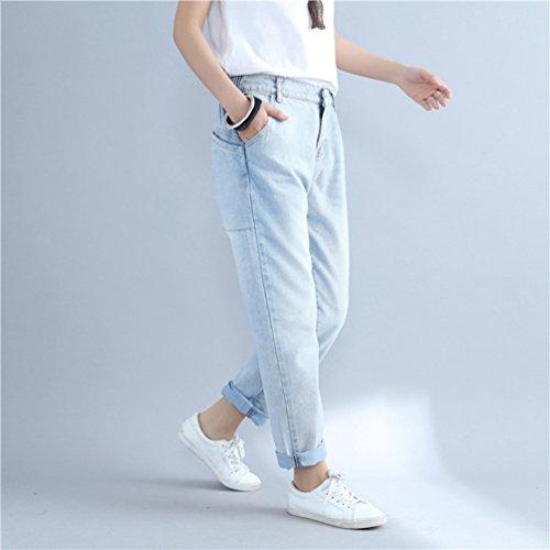Elegante E Alta Pantaloni Pants Grandi Chiaro Casuale Dimensioni Lungo Wanyang Inverno Donna Blu Elastici Denim Di Autunno Qualità UYqqPwA5