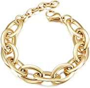 CIUNOFOR CZ Bracelet for Women Girls Wide Cuban Curb Link Bracelet Silver Rose Gold Plated 9.5 Inches Stainles
