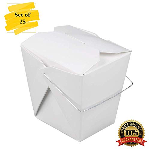 (MM Foodservice Set of 25 White Chinese 16 oz Take Out Boxes, Leak and Grease Resistant take Out Boxes)