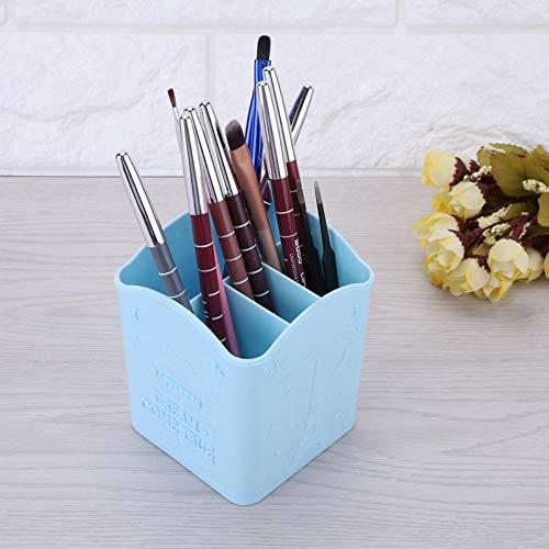 Plastic Make Up Organizer Storage Box Pencil Cosmetic Organizer Case For Eyeliner Lip Liner Pencil Pen Lipstick Home Storage Blue ()