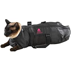 Top Performance Cat Grooming Bag — Durable and Versatile Bags Designed to Keep Cats Safely Contained During Grooming and/or Bathing - Large, Black