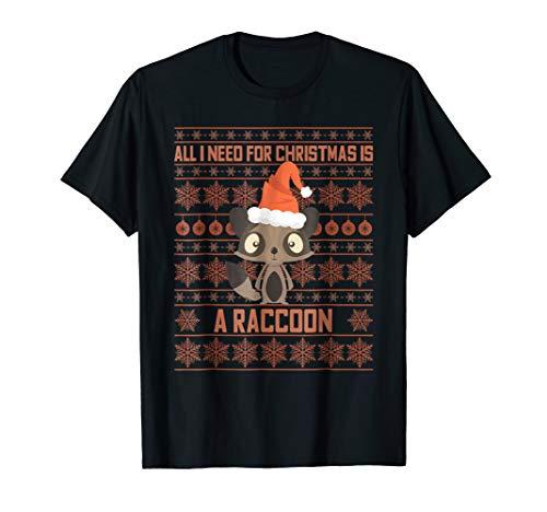 (Sweet Raccoon Christmas T-Shirt Ugly X-mas Coon Pajama Gift)