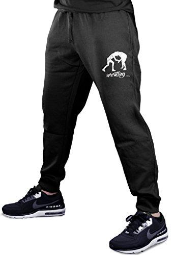 Men's MMA Wrestling Emblem Black Fleece Gym Jogger Sweatpants Large Black by Interstate Apparel