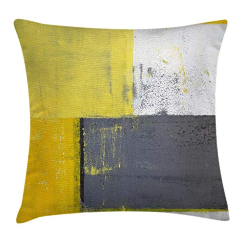 Accent For Beds Pillows (Ambesonne Grey and Yellow Throw Pillow Cushion Cover, Street Art Modern Grunge Abstract Design Squares, Decorative Square Accent Pillow Case, 18 X 18 Inches, White Charcoal Grey and Light Yellow)
