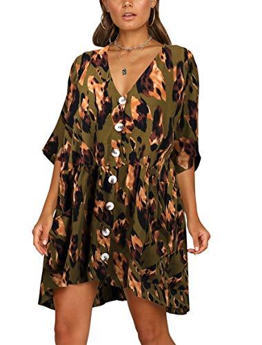 BELONGSCI Women's Casual Dress Half Sleeve Button Down V-Neck Pocketed Loose T-Shirt Dress Oversized Dress Camouflage ()