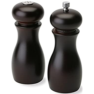 Olde Thompson 6  Caffe Wood Pepper Mill and Salt Shaker Set
