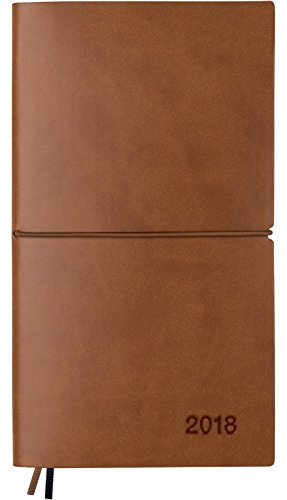 Pocket Planner 2018 with Weekly & Monthly Calendars, Leather Material, Elastic Closure, Decorative Stitching, Printed Color Edge, Page Finder Ribbons and Notes Pages (Brown / Black)
