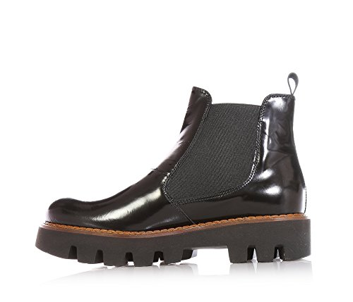 JARRETT - Black ankle boot made of shiny leather, characterized by the use of high quality materials and refined hides, lateral elastic inserts, Child, Girl, Girls, Women