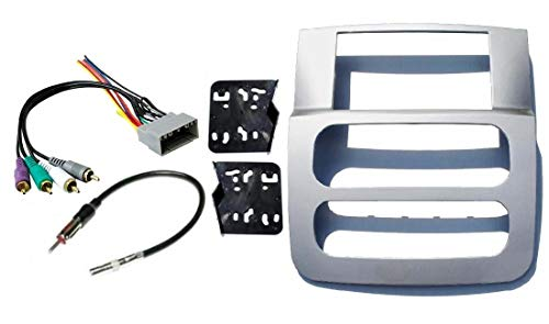 Double Din Dash Kit for Installation of Aftermarket Radio Stereo with Infinity System Compatible with 2002-2005 Dodge Ram (Silver)