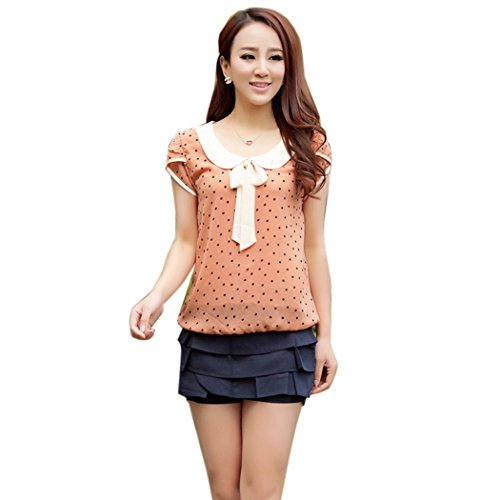 FOREVER YUNG Women's Short Sleeve Slim Fit Polka Dotted T-shirt Pink XL