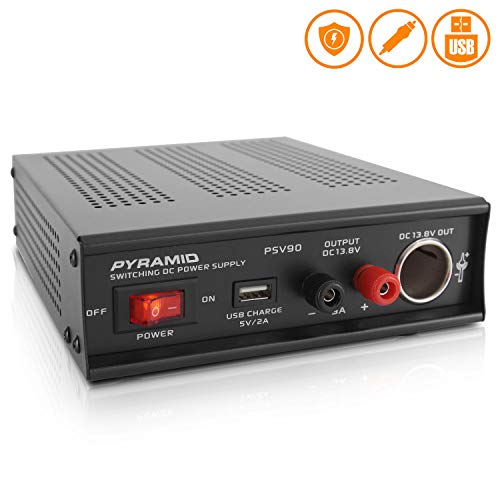 Universal Compact Bench Power Supply - 9 Amp Regulated Home Lab Benchtop AC-DC Converter Power Supply for CB Radio, HAM w/ 13.8 Volt DC 115/230V AC Switchable, USB, Cigarette Lighter - Pyramid PSV90 ()
