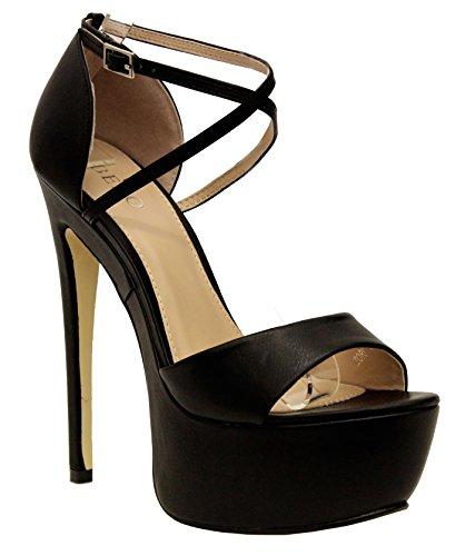 Saute Styles - Zapatos de vestir para mujer BLACK FAUX LATHER