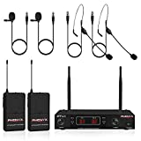 Wireless Microphone System, Phenyx Pro VHF Cordless Mic Set With 2 Headsets+2 Lapels+2 Bodypacks, Easy Setup, Interference-free, Best for Presentation, Interview, Church, Weddings (PTV-1D)