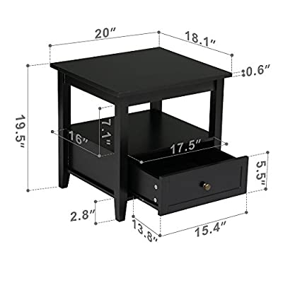Yaheetech Black Wood End Table/Night Stand with Drawer and Open Shelf for Storage Bed/Chair/Sofa Side Table