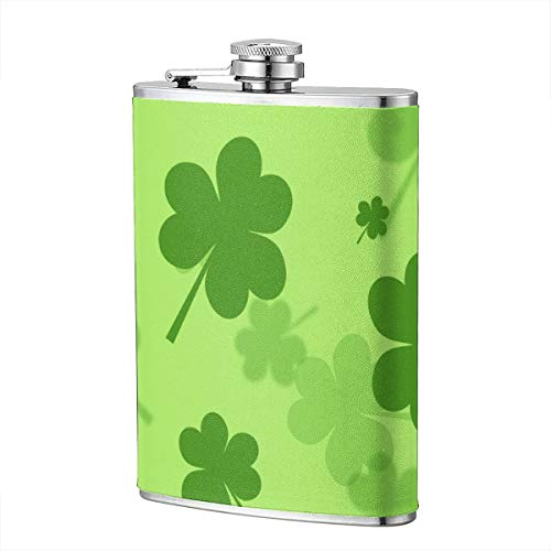 LianDiJiaChuang Solid Flasks Stainless Steel Flask Funnel Set St Patricks Shamrock for Weddings,8 Oz,Gift for Whiskey Lovers, Teachers, Moms, Husbands,Wives, Sisters