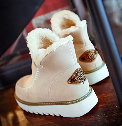 Antiscivolo Moda Piatto Neve Stivali Caloroso Pelliccia Marrone Bambina Inverno Da Allineato Stivaletti Donna q8z144